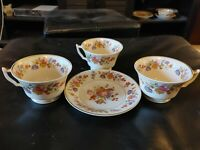 "Old Ivory Syracuse China O.P.CO. 3 Teacups & 1 Saucer ""Sharon"" Floral Pattern"