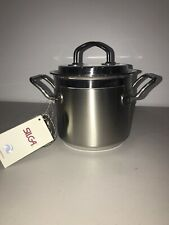 New Teknika By Silga Stainless Steel Stock Pot With Lid 16cm Made In Italy 2.1 Q