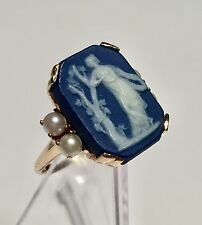 Vtg 10k Gold & Wedgwood Cameo RING Size 6.75 Pearl marked Kayna