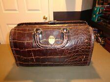 Vintage Upjohn Homa Doctors Bag Medical Genuine Cowhide Leather Faux Alligator