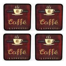 Set of 4 Cafe Espresso Coasters  (9.5cm x 9.5cm)