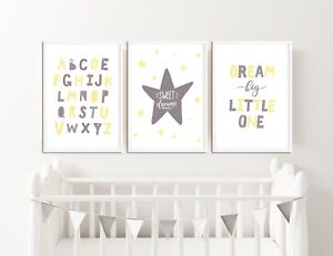 Grey and Yellow Nursery Prints / Baby Room Decor, Pictures for Childrens Bedroom