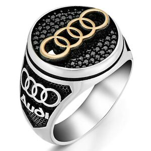 Solid 925 Sterling Silver Audi Logo Men's Ring with Black Zircon Stones