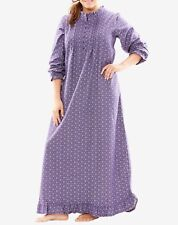 Plus Size Midnight Violet  Floral Cotton Flannel Print Nightgown Size 1X(22/24)