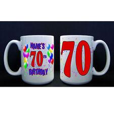 70th Birthday Party (Age 70) PERSONALIZED CUSTOM BIRTHDAY BALLOON BIG MUG / CUP