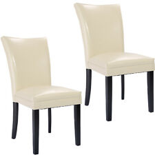 Set of 2  PU Leather Accent Dining Chairs Elegant Modern Design Home Furniture