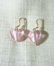 Heart Shaped Pink Crystal 925 Sterling Silver Fishhook Dangle Earrings