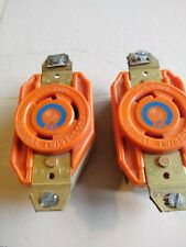 (two) Hubbell Twist - Lock  Receptacle  IG2620A ORANGE  30A. 250V.