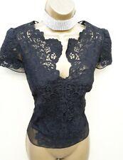 Karen Millen UK 14 Black Floral Lace Embroidered Blouse Top Party Evening