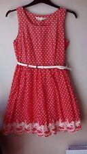 Yumi size 12 coral polka dot dress