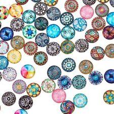 Neuf 50 Cabochons en Verre Multicolores 12mm