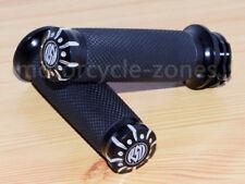 "RSD 1"" 25mm CNC Edge Cut Handlebar Hand grips For Harley Sportster Cruiser Black"