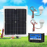 20W 12V Solar Panel With PWM 10A Controller Battery Charger Kit & 2 LED Bulbs