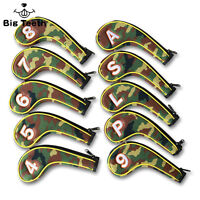 10pcs Zipper Golf Iron Headcovers Set Head Covers Club Protector LH/RH CAMO New