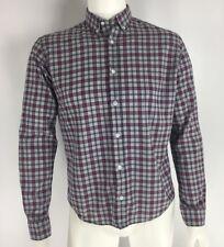 BESPOKEN Long Sleeve Button Front Shirt Gray Red Blue Plaid Trunk Club Mens Sz L