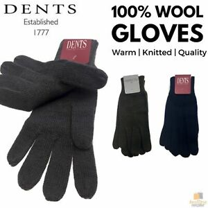 100% PURE WOOL GLOVES Winter Snow Ski Plain Knit Knitted Warm MK341 Plain