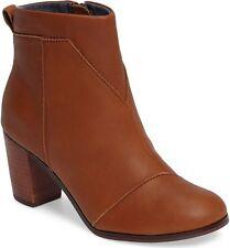 Toms LUNATA Bootie NIB Leather Womens Comfort Ankle Boot WARM TAN / Brown Sz 10