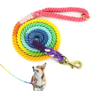 6FT Dog Rope Leash Cotton Handle Heavy Duty Training Lead Gradient Multicolor