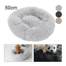 Round Pet Dog Cat Calming Bed Comfy Shag Warm Fluffy Bed Nest Donut Mattress Pad