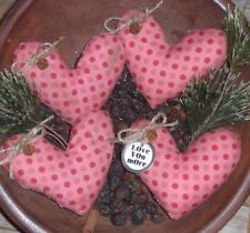 4 Prim VALENTINE Pink Polka Dot LOVE Hearts Bowl Fillers Ornies Ornaments Tucks
