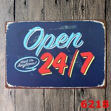 Metal Tin Sign open 24/7 visit us anytime  Decor Bar Pub Home Retro Poster Cafe