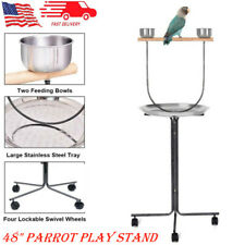 "49"" Bird Parrot Play Stand Cockatoo Pet Bird Play Gym Perch with Feeder &Tray"