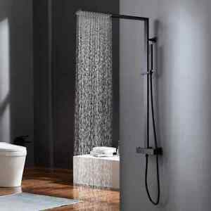 Exposed Thermostatic Shower System with Rain Shower Head&Hand Shower Matte Black