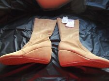 CAMEL SUEDE LONG WEDGE BOOTS - SIZE 4