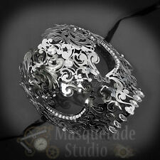 Womens Full Skull Phantom Day of the Dead Halloween Masquerade Mask [Silver]