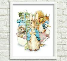 Peter Rabbit Nursery Decor, Beatrix Potter Nursery Art, Animal Nursery Print