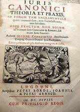 1698 DROIT JURIS CANONICI JUSTICE JURISPRUDENCE CODES NOTARIAT LIVRE LAWS BOOK