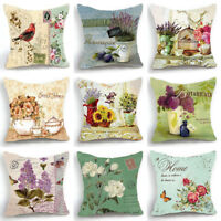 18'' Retro Design Linen Cushion Cover Rose Birds Flower Pillow Case Home Decor