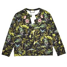 NWT $960 GUCCI Men's Black Jungle Print Floral Embroidered Sweatshirt AUTHENTIC