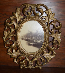 ANTIQUE VICTORIAN heavy cast iron ORNATE GOLD GILT oval PICTURE FRAME