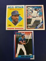 1988 & 1990 Topps #140 #401 #500 ANDRE DAWSON Chicago Cubs Lot 3 Nice Look !