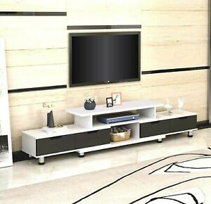 160-230cm Large Adjustable TV Stand Entertainment Unit Cabinet Glass Top Cover