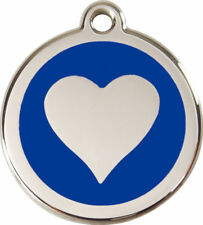 RED DINGO HEART STAINLESS STEEL DOG/CAT ID TAGS TAG ALL COLOURS FREE ENGRAVING
