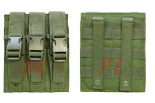 MOLLE Triple Airsoft MP5 Magazine Pouch .22 or 9mm Mag Ammo Flap PAL-OD GREEN