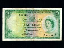 Rhodesia & Nyasaland:P-21b,1 Pound,1961 * Queen Elizabeth II *