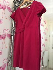Rocha John Rocha Cerise Fushia Pink Fitted Wiggle Smart Occasion Linen  Dress 18