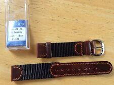 NEW KREISLER WATCH BAND BRACELET - Leather & Nylon 18mm Brown & Black 490102-18