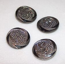 SET OF FOUR ANTIQUE VICTORIAN GLASS BUTTON DETAILED BUTTONS W/ SILVER OVERLAY