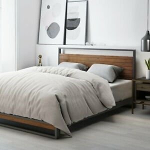 Grimes Platform Bed Industrial Style - Double