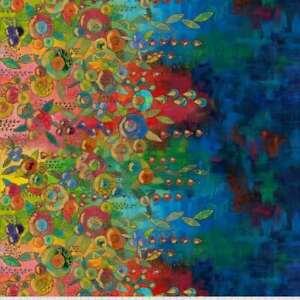 Sue Penn Digital Print Flourish Floral Border Design Cotton Fab SPO28.MULTI BTY