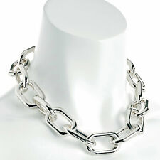 Shiny silver colour large oval lightweight choker necklace fashion jewelry