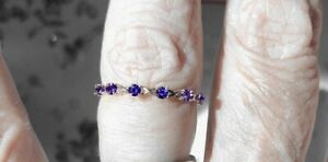 Purple Yogo Sapphire 14kt white gold band.30tcw Great for stacking