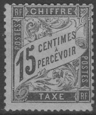 "FRANCE STAMP TIMBRE TAXE N° 16 "" TYPE DUVAL 15c NOIR "" NEUF xx TB SIGNE K590"
