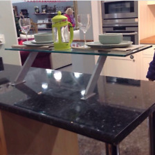 Kitchen Glass Breakfast Bar Table Top Mounted Bars Dining Drinks Aluminium  Stand
