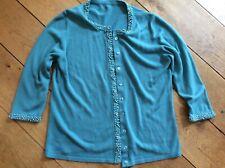 Vintage turquoise blue beaded cardigan ladies woman collar neckline size 14