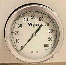 "Weiss Gauge 6-1/4"" 6PGA-1 1/4 NPT 0/100 PSI back mount"